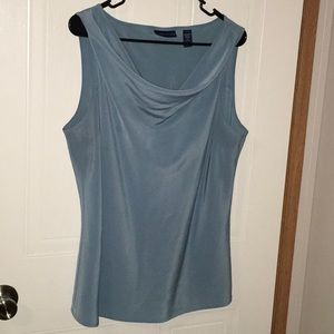 Light blue cowl neck shell blouse